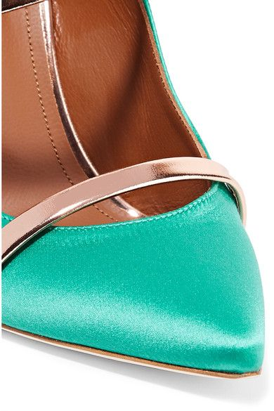 Malone Souliers - Maureen Metallic Leather-trimmed Satin Mules - Jade - IT40.5