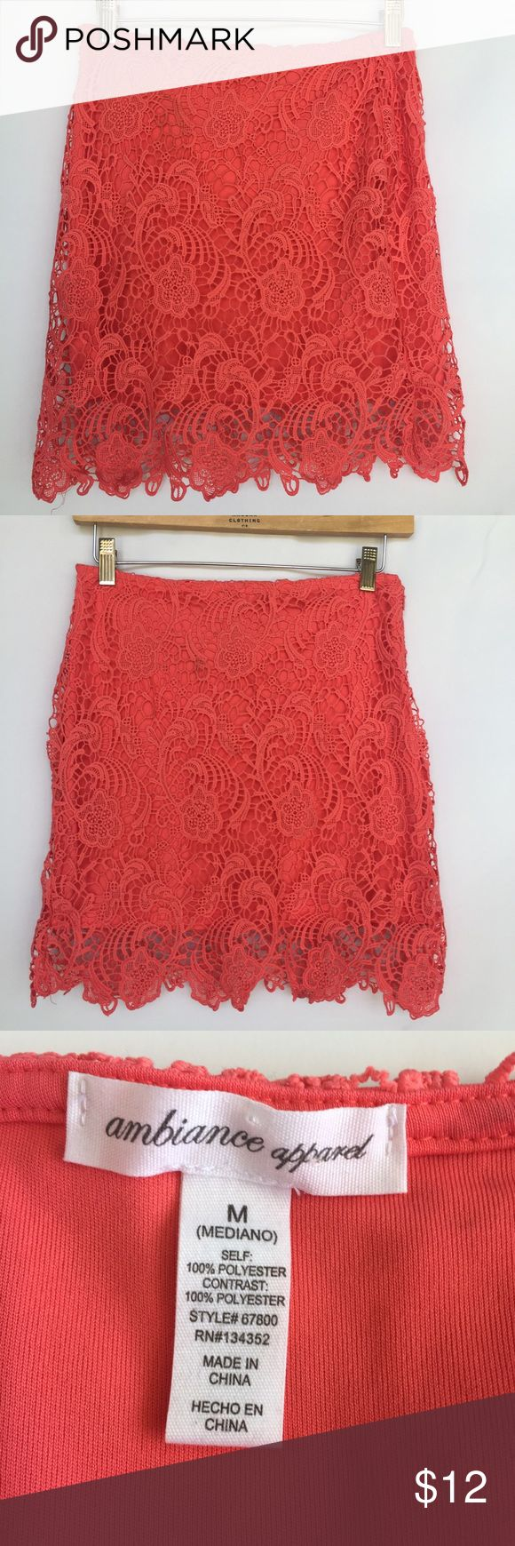 """Ambiance Apparel coral lace mini skirt Gently used Ambiance Apparel coral lace skirt size medium but fits like a small. Approximate measurements flat waist 13.5"""", flat hips 15.5"""", length 18"""". Is lined and has side zipper Ambiance Apparel Skirts Mini"""