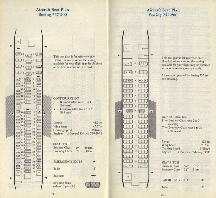 Air New Zealand 1993 seating plan