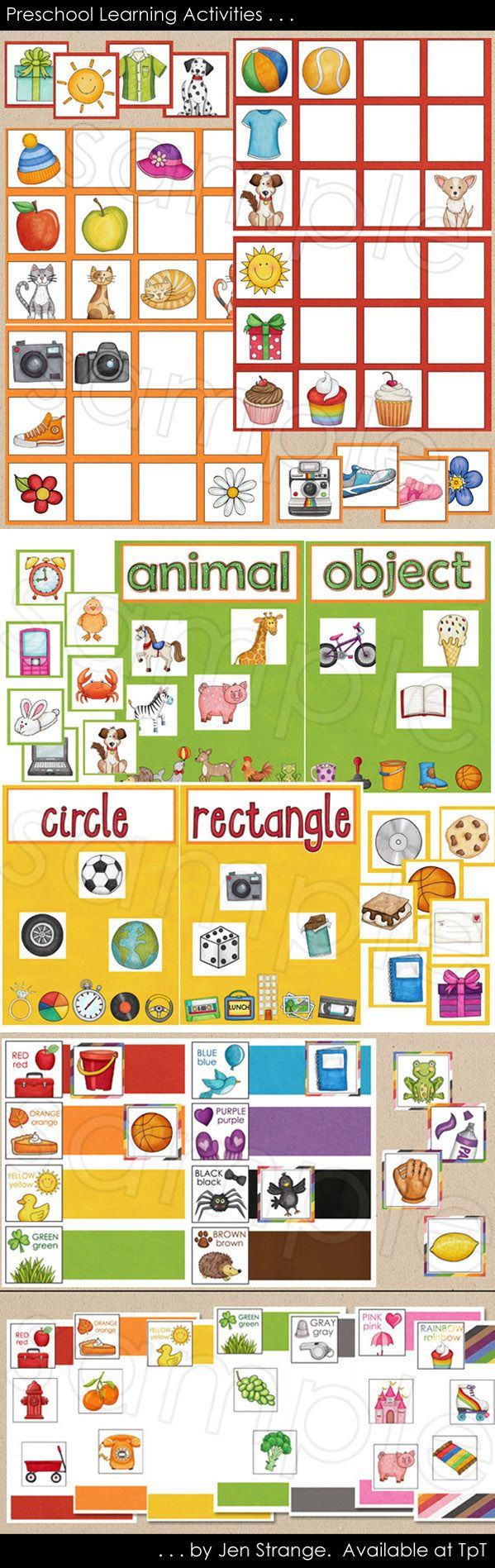 Don't give your preschooler a workbook to learn shapes, colors, or matching concepts - use colorful cards and let her move around!  Sit down with these 5 sorting activities and make learning an interactive, conversational experience.  File folder game format.