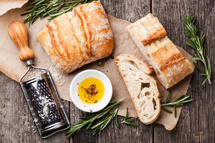 Sliced bread Ciabatta and oil by liskina-nora on Creative Market: