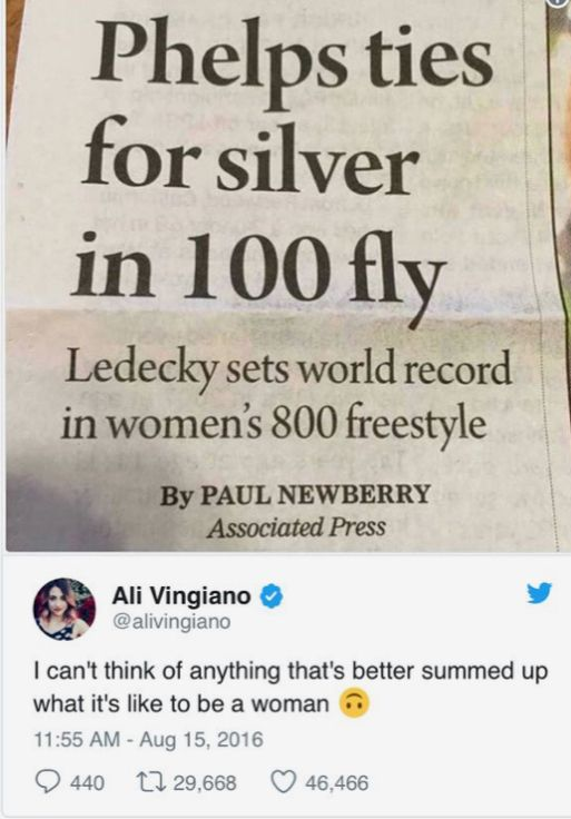 The headline is some guy who tried a thing. The small words down below are a woman who beat a fucking world record. Hmm.