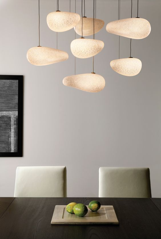 The Constellation Chandelier by @lbllighting contains pebble-shaped mouth-blown opal #glass with silver leaf suspended at various lengths from a metal canopy. #design #interiordesign #interiordesignmagazine #productFIND #lighting: