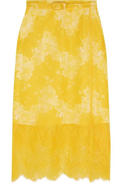 Carven - Belted Lace Skirt - Yellow - FR42