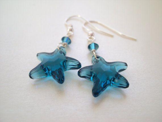 Swarovski Blue Sea Star dangly earrings in sterling silver (925)