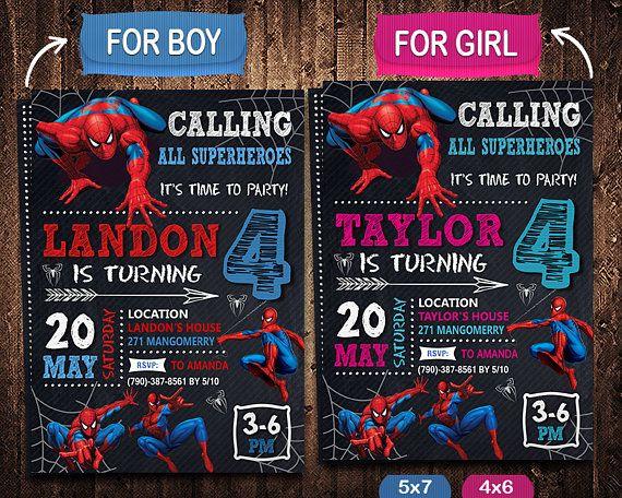 Spiderman Invitation Spiderman Invite Spiderman Birthday