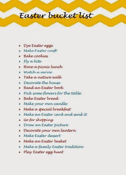 Easter bucket list-Πασχαλινή λίστα δραστηριοτήτων