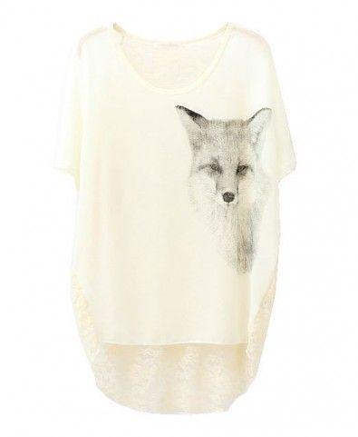 High Low Chiffon & Lace T-shirt with Fox Print