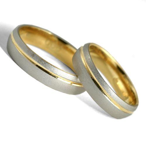 Obrączki ślubne z białego i żółtego złota. Próba 0,585