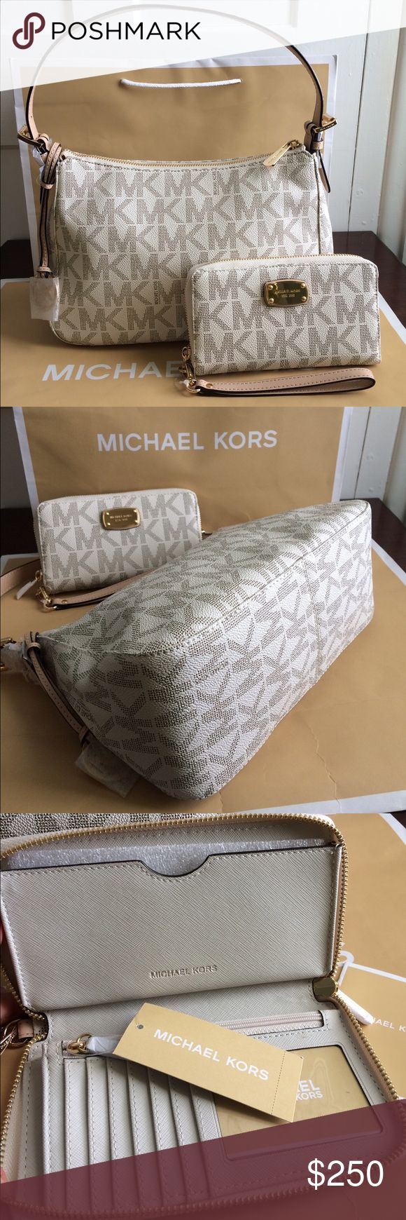 "Michael Kors Shoulder Purse and Wallet new 100% Brand new with tag and Authentic. Color: Vanilla MK Signature PVC w/ leather trim Top zip closure Gold tone Hardware Leather shoulder 8"" drop strap with Double Buckle Adjustment Michael Kors Gold Charm Interior: 1 Zip Pocket & 2 Slide Pockets MK signature Fabric lining 12"" (L) X 7.5"" (H) X 4.5"" (D)  Bag Retail price $198 Wallet retail price $108 Price is firm. Thank you Michael Kors Bags Shoulder Bags"