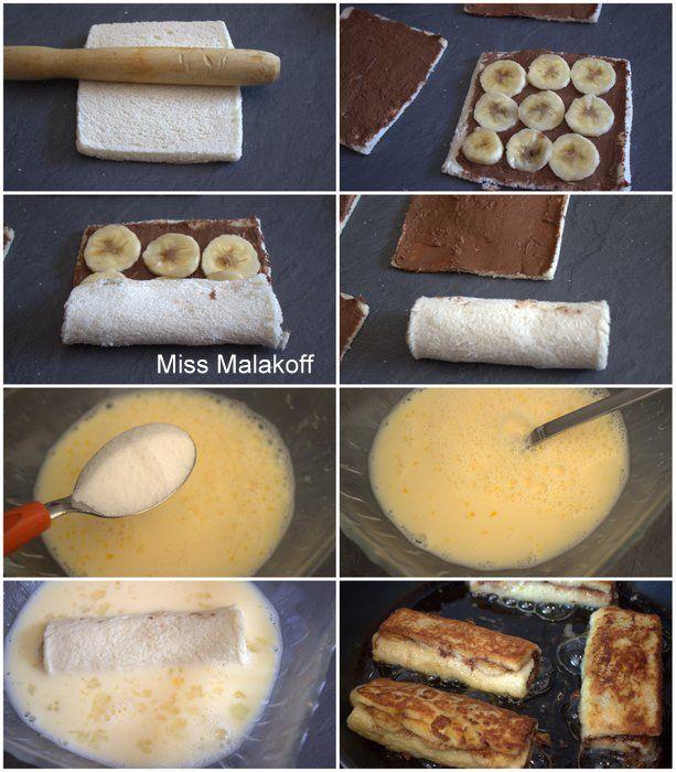 Pain perdu roulé a la banane et au Nutella