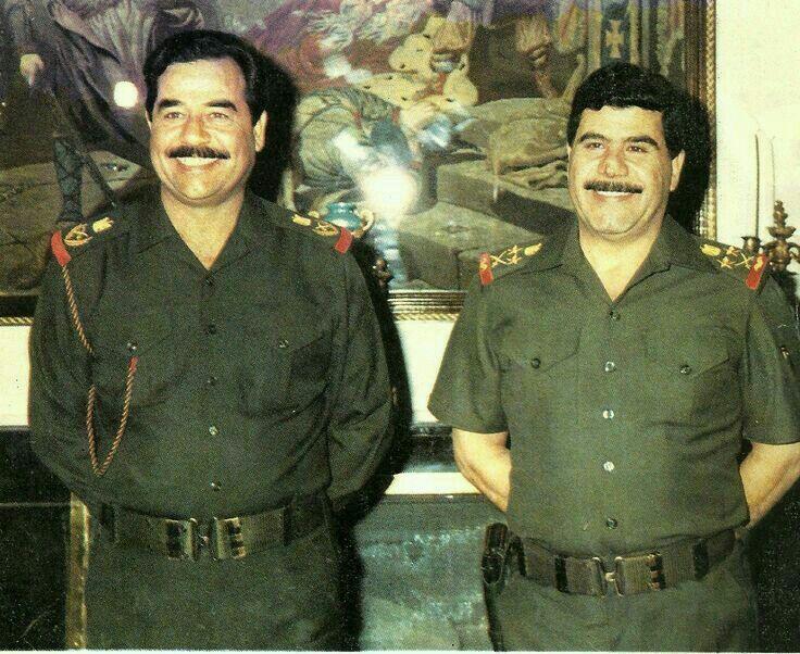 الرئيس الشهيد صدام حسين مع البطل عدنان خيرالله رحمهم الله Iraqi President Saddam Hussein Baghdad
