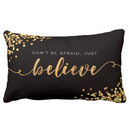 #Faith Moves Mountains/Just Believe Golden Pillow - #birthday #gifts #giftideas #present #party