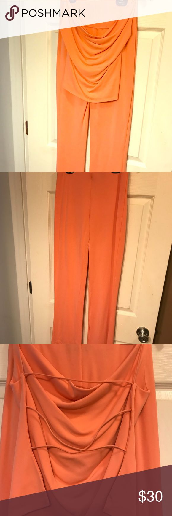 Like new! Beautiful orange 2 piece! MODA International Orange 2 piece with strappy top and long pants to match!  Worn once to Marine Corps graduation then dry-cleaned and bagged!!  🍂great condition  🍂Women's XS 🍂smoke-free home! Moda International Other