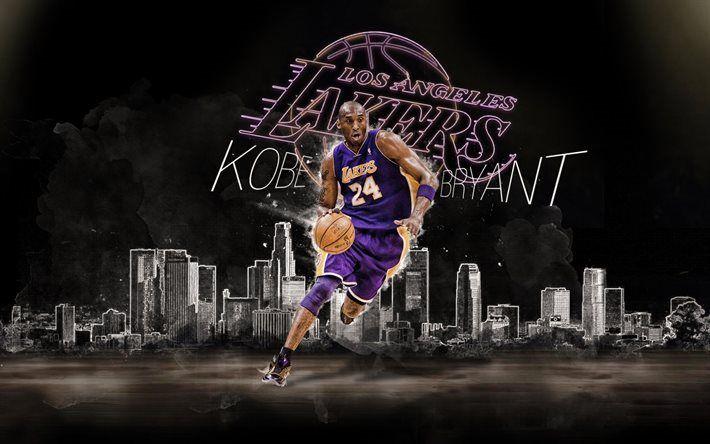 Télécharger fonds d'écran De la NBA, Kobe Bryant, stars du basket-ball, LA Lakers, basket-ball, les Los Angeles Lakers