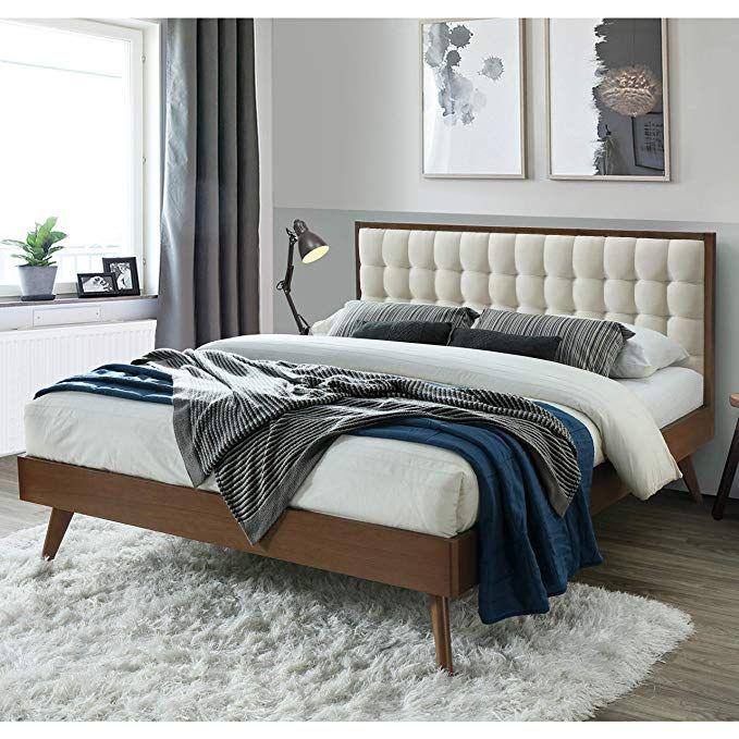 Dg Casa 12050 Q Bge Soloman Mid Century Modern Tufted Upholstered Platform Bed Queen Mid Century Platform Beds Upholstered Panel Bed Upholstered Platform Bed