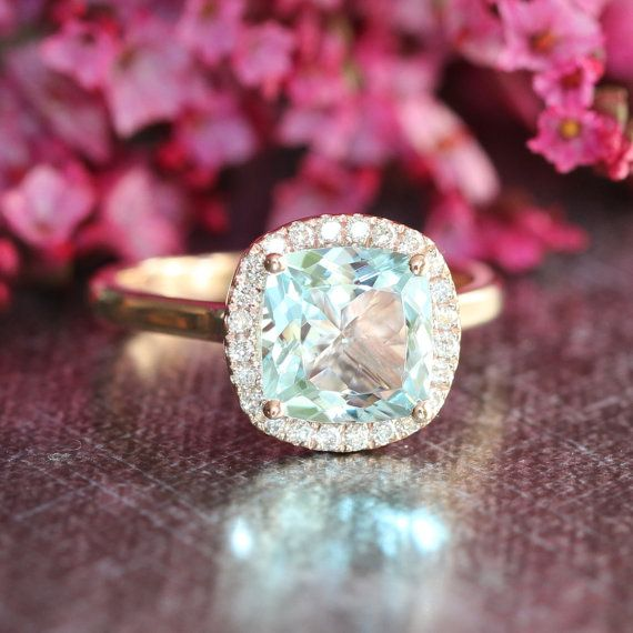 Natural Aquamarine Engagement Ring in 14k Rose Gold 8x8mm Cushion Aquamarine Ring Halo Diamond Wedding Ring (Custom Made Ring Available)
