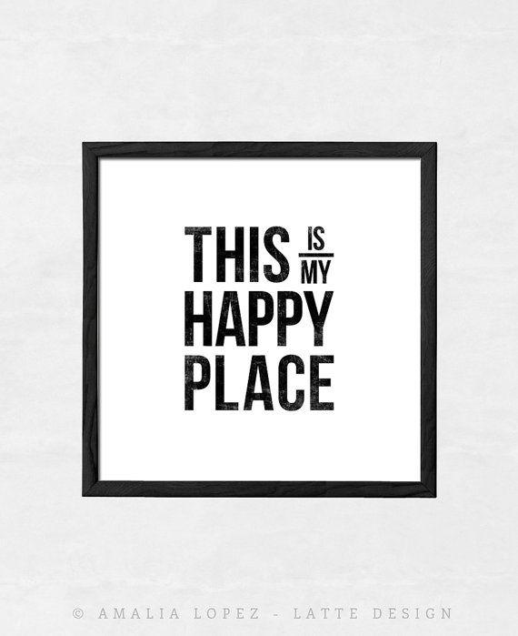 Dit is mijn gelukkige plaats print typografie print door LatteDesign