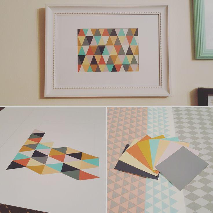 #wallart #craftygirl #diyproject #geometric #ideas #wallhanging #DIY #triangles #roomides
