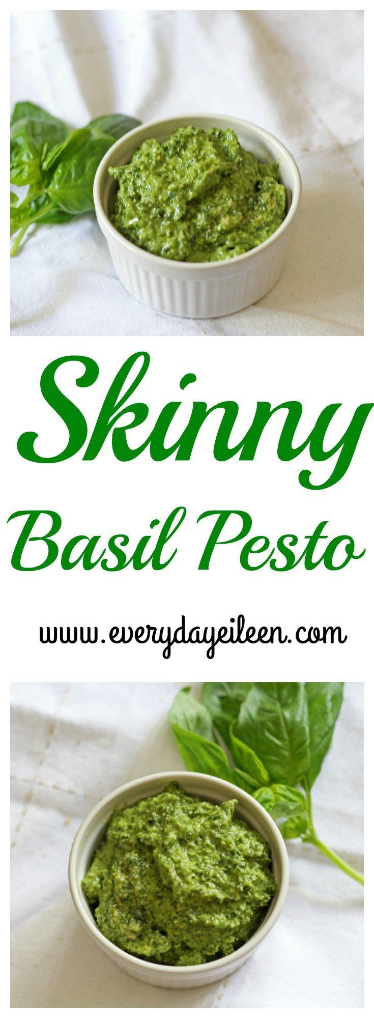 Skinny Basil Pesto has all the flavor with less calories. Skinny Basil Pesto is perfect in so many dishes like pasta, chicken, and veggies! Freezer friendly