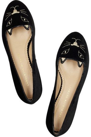Charlotte Olympia Kitty Embroidered Velvet Flats  For every devoted crazy cat lady.