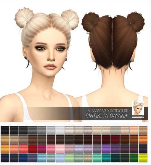 Miss Paraply: Sintiklia Dayana hairstyle: solid colors • Sims 4 Downloads