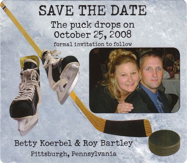 hockey themed weddings | Inspiration: Hockey-Themed Wedding; Just with a not-so-creepy picture