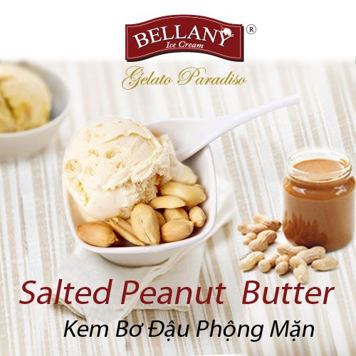 The speciality from Bellany, Salted Peanut Butter ice cream is a slightly salty taste from sea salt; crispy and savory from peanut butter. Definitely can not resist!  #bellanyicecream #premiumicecream #kembodauphongman #saltedpeanutbuttericecream