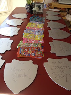 Decorating shields and other knight party ideas. [Ethan's 6th birthday party]