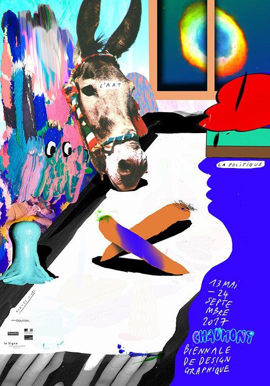 Formes Vives, affiche de la Biennale de design graphique de Chaumont, Centre international du graphique, 120x176cm, 60x80cm, 40x60cm, sérigraphie 5 couleurs, impression Lézard Graphique, avril 2017