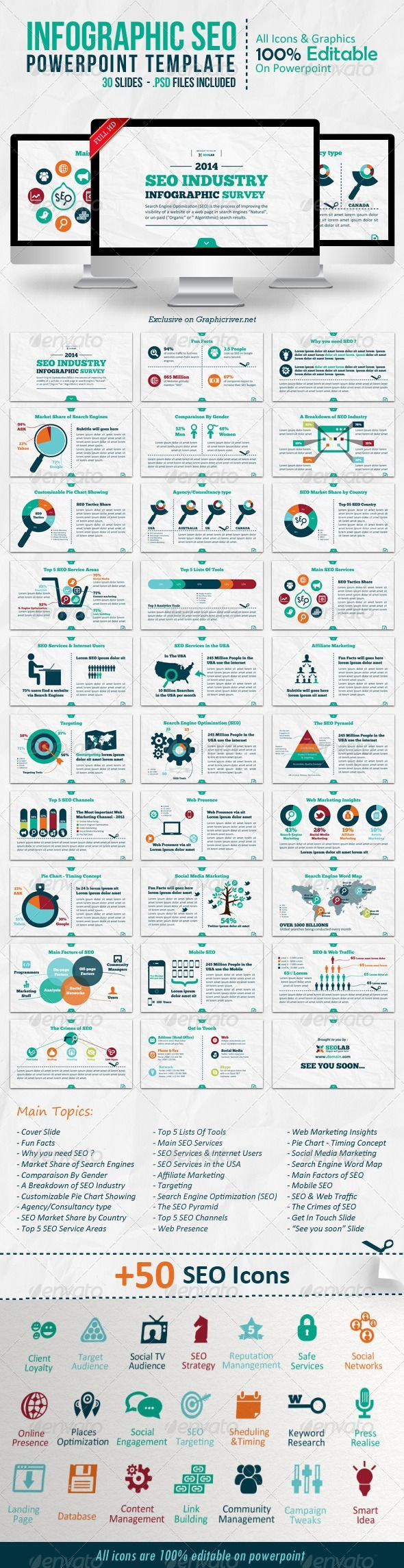 Presentation Templates - Infographic SEO Powerpoint Template | GraphicRiver #infographics