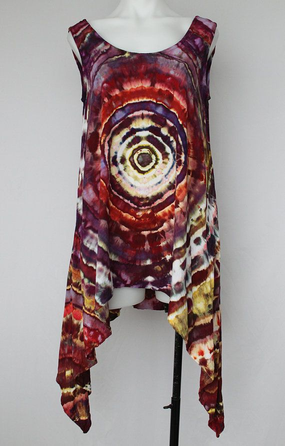 Asymmetrical sleeveless tunic ice dyed tie by ASPOONFULOFCOLORS Find this item on https://www.etsy.com/shop/ASPOONFULOFCOLORS?ref=hdr_shop_menu