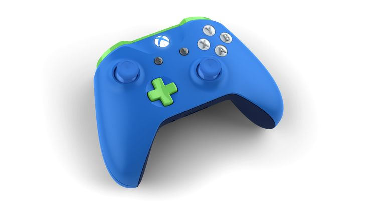 Custom controller with colors: Photon Blue, Electric Green, Midnight Blue