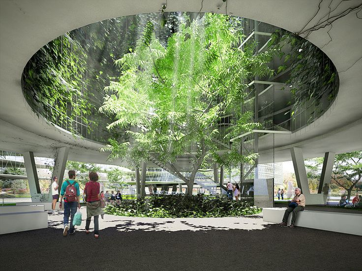 """Inner courtyard of the typical """"living node"""" building. The"""