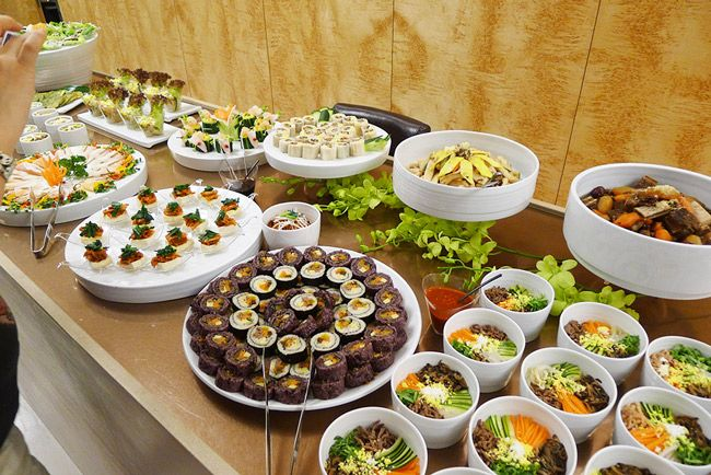Korean party food served with white porcelain plates and bowls   MyKoreanKitchen.com