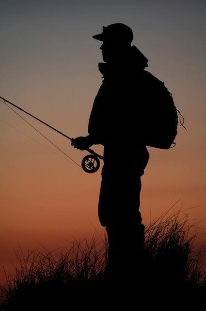 Fishing at dusk.