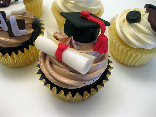 A little graduation cap & diploma to celebrate years of hard work! Ferrero Rocher cupcake - chopped Ferrero Rocher chocolate chunks are mixed into this rich chocolate cupcake. Topped with a Nutella buttercream.