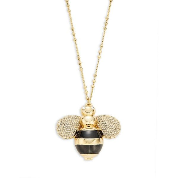 Kate Spade New York Queen Bee Pendant Necklace ($128) ❤ liked on Polyvore featuring jewelry, necklaces, two tone, bumble bee pendant, honey bee necklace, enamel jewelry, bee necklace and enamel necklace