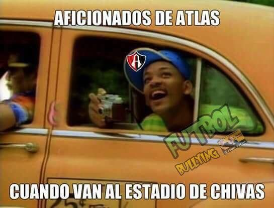 Así los aficionados del Atlas cuando van al estadio de las Chivas. Memes Chivas vs Atlas. #MemesChivas #MemesAtlas #MemesFutbol