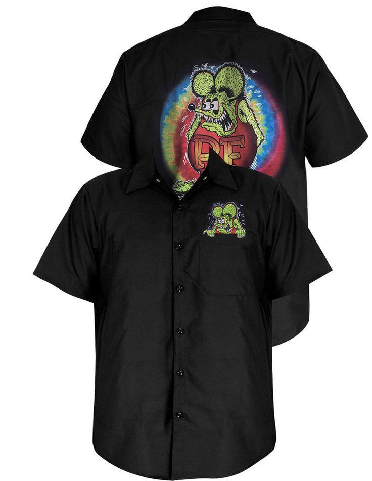 Steady Rockabilly Mechanics Shirt Black Rat Fink Button Front Ed Roth Tye Dye #ClassicSTEADY #ButtonFront
