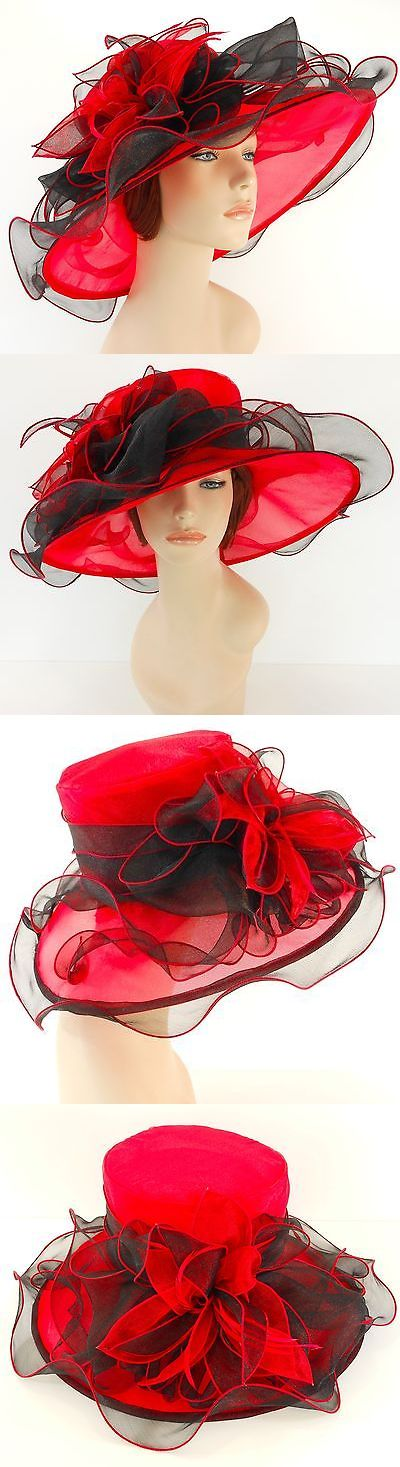 Women Formal Hats: New Church Kentucky Derby Wedding Organza Wave Ascot Dress Hat 2867 Red / Black -> BUY IT NOW ONLY: $38.99 on eBay!