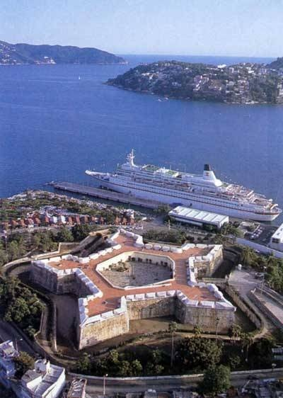 Aerial view of Fuerte San Diego.  Today it is the Museum of Acapulco.  Acapulco, MEXICO.