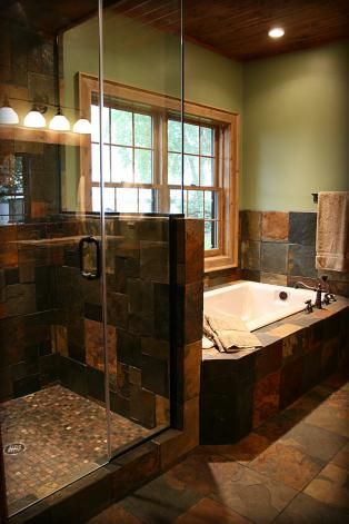 I Like The Wood On The Ceiling, The Tile And The Glass Floor To Ceiling · Slate  Tile BathroomsBathroom ...