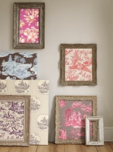 Leftover wallpaper in vintage frames. It would be cool to wallpaper one wall in a room and put these on the opposite wall!