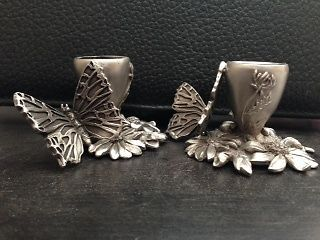 Seagull Pewter Candle Holders - Butterflies & Flowers, dated 1992.