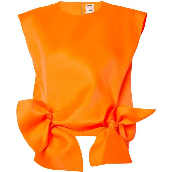 Orange silk blend bow tank from Maison Rabih Kayrouz.  Size: 38.  Gender: Female.  Material: Silk/Polyester.