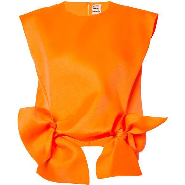 Maison Rabih Kayrouz Bow Tank (€1.035) ❤ liked on Polyvore featuring tops, orange tank, bow tank, bow top, orange tank top and maison rabih kayrouz