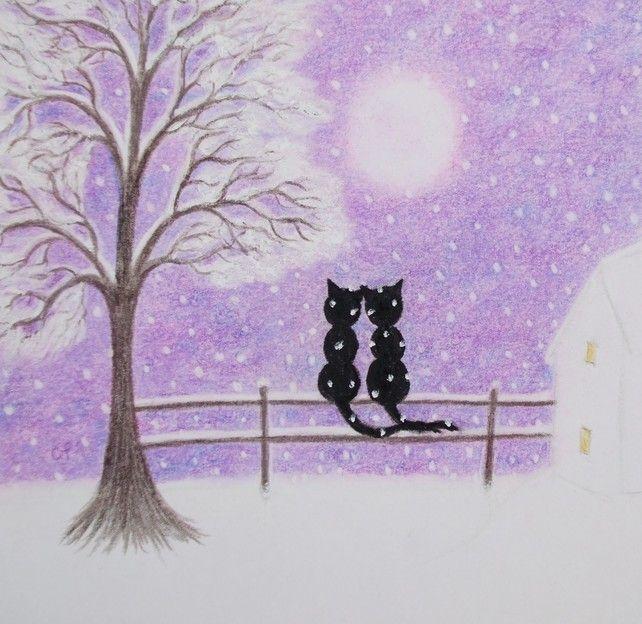 #Cat Christmas Card: #Black Cat #Christmas Card, #Snow Cat Card, Christmas #Art Card £2.50
