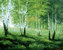 Diy cyfrowy obraz wyjątkowy prezent akrylowe zdjęcia wall art ręcznie malowane obraz olejny zielone drzewa krajobrazu by numbers bezramowe(China (Mainland))