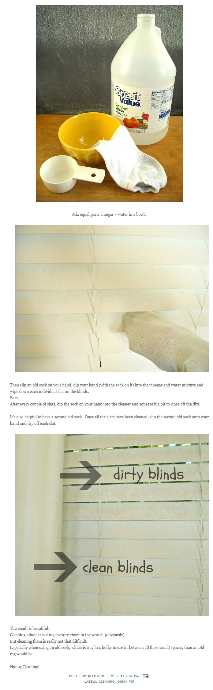Truc super simple pour nettoyer les stores, qu'ils soient verticaux ou horizontaux.  Source: http://keephomesimple.blogspot.ca/2012/10/how-to-clean-dirty-blinds.html